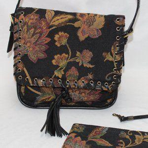 Naturalizer Floral Cloth Shoulder Bag w/Leather